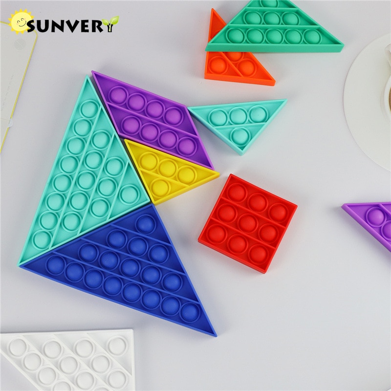Tangram Popit Push Pop Bubble Fidget Toys Party Favor Puzzle Rainbow Sensory Toy for Children Autism Antistress Game Fun Gift enlarge