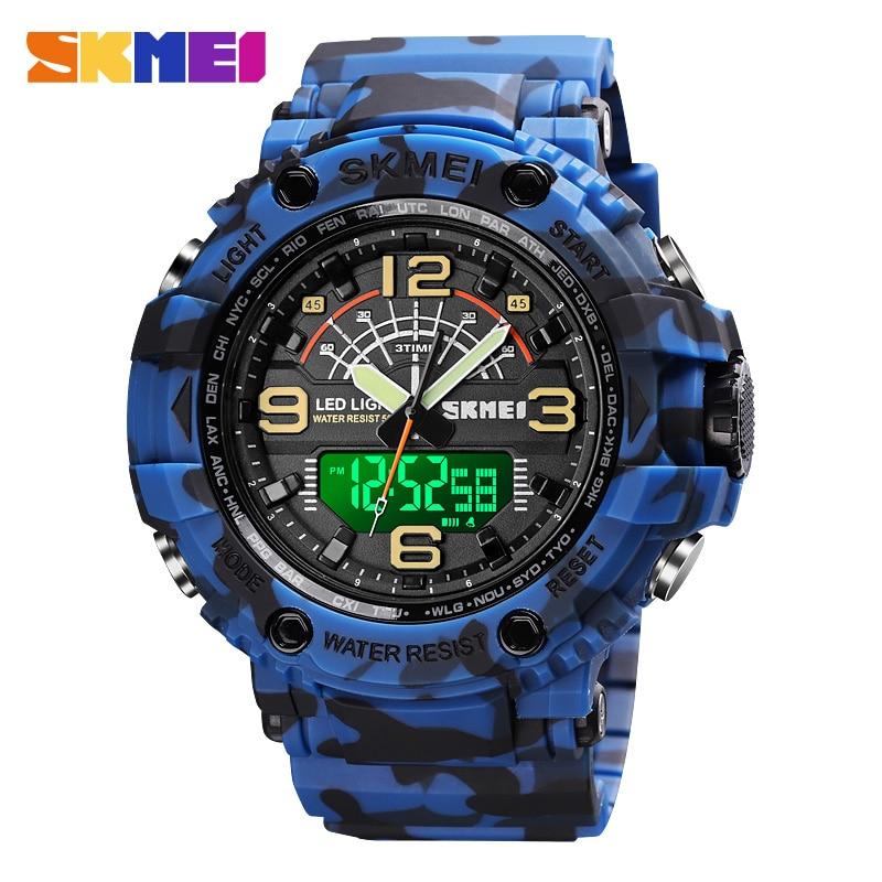 SKMEI Outdoor Sports Watches Military Watch Men Waterproof Digital Quartz Large Dial Mens Watches Fashion Man Wristwatch Relogio