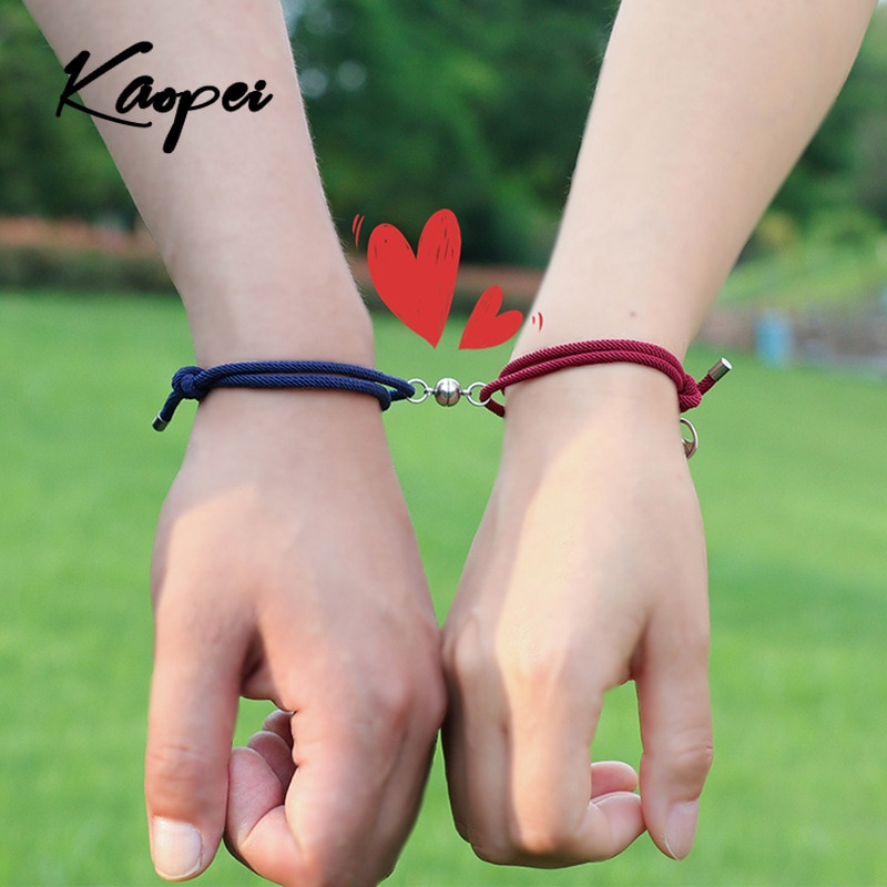 2pcs\Set New Stainless Steel Couple Bracelet A Pair of Magnet Ball Hand Men and Women Gift Friendshi