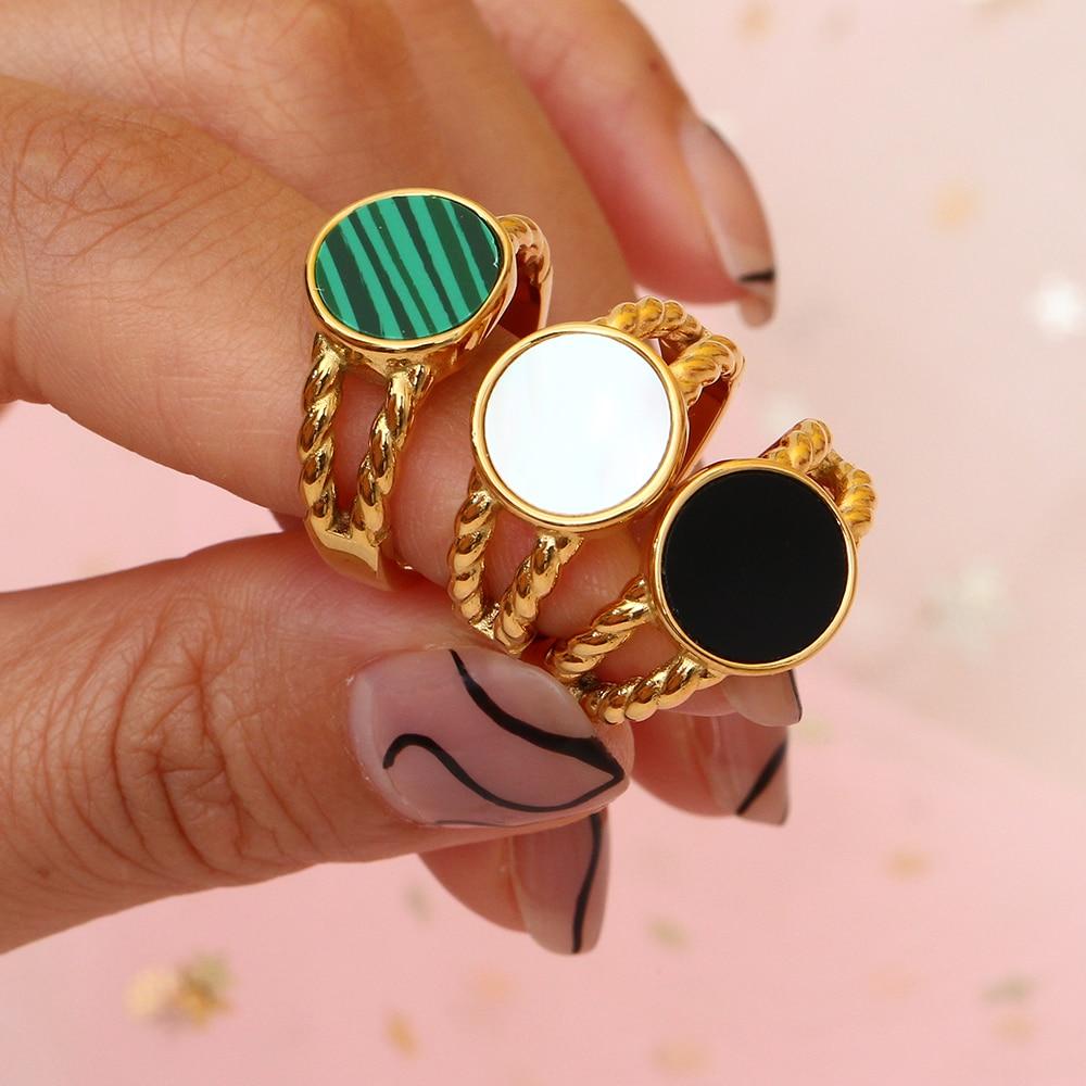 Женские-позолоченные-кольца-винтажные-круглые-кольца-из-акрила-с-натуральной-ракушкой-зеленого-черного-белого-цвета-ювелирные-украшени