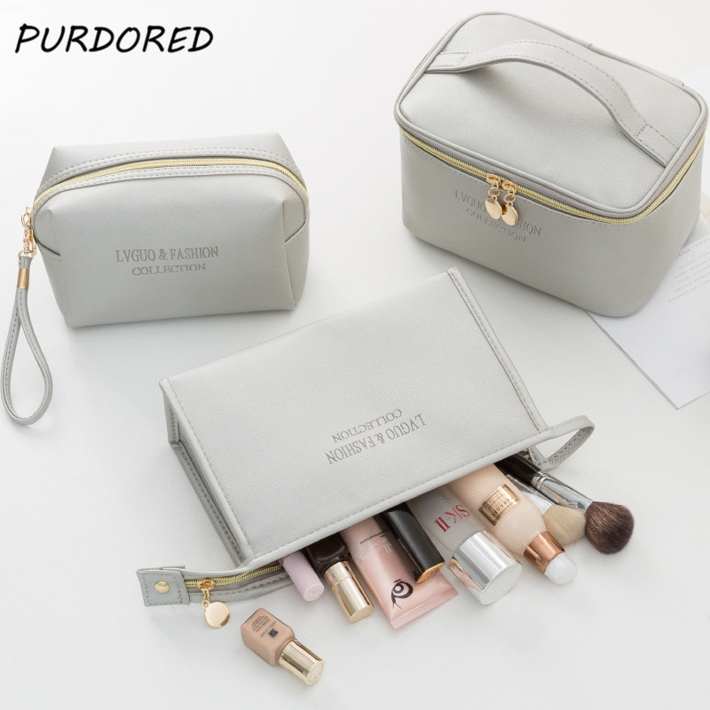 PURDORED 1 Pc Large Women Cosmetic Bag PU Leather Waterproof Zipper Make Up Bag Travel Washing Makeu