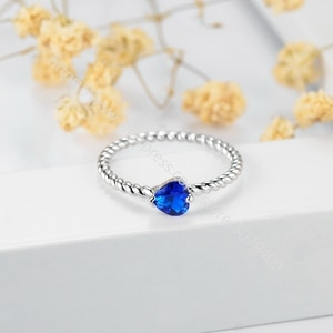 Dainty white gold plated Promise ring for her Elegant thin ring red heart rubys CZ ring Anniversary ring jewelry
