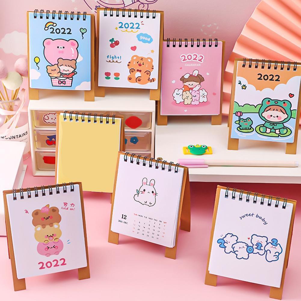 Настольный мини-календарь с мультяшными животными, 1 шт., 2022, простой календарь, двойной ежедневник, настольный планировщик, органайзер на го...