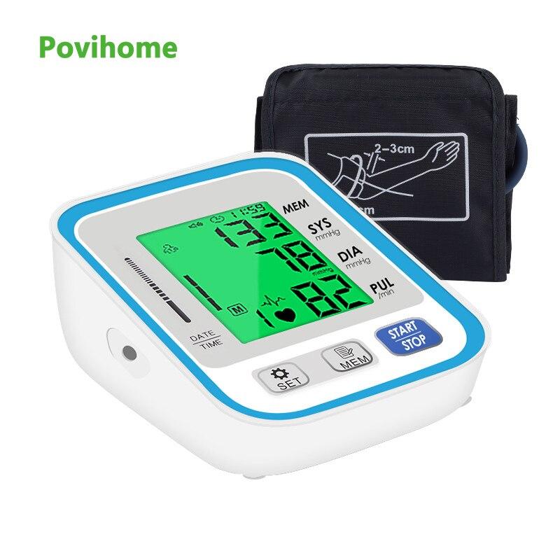 جهاز قياس ضغط الدم الإلكتروني للذراع العلوي جهاز قياس ضغط الدم لقياس ضغط الدم الطبي المنزلي مع الصوت