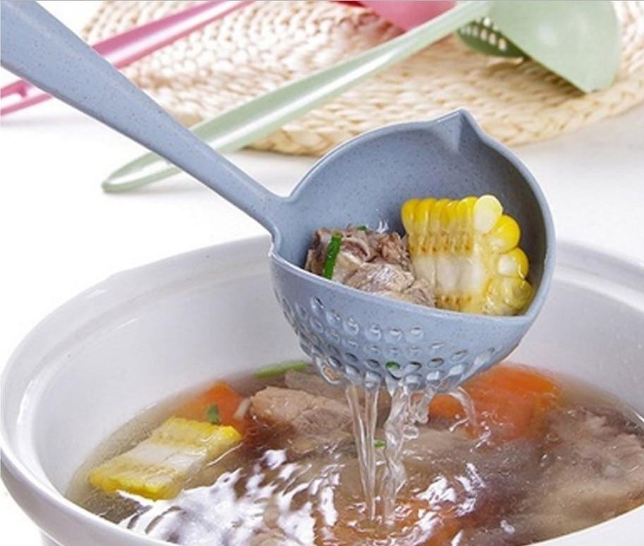 Fenkicyen nova colher de sopa longo lidar com filtro de cozinha cor sólida cozinhar colander cozinha colher de plástico utensílios de cozinha coador quente