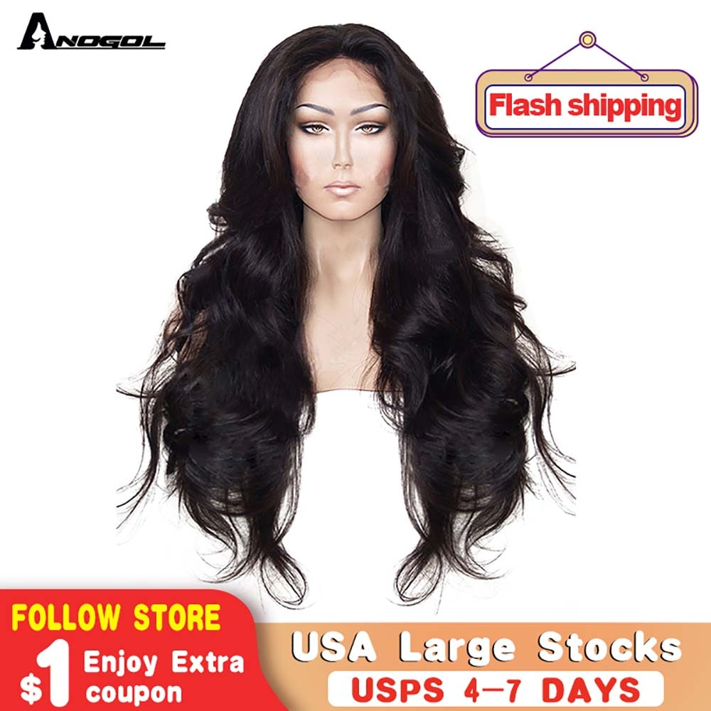 Anogol High Temperature Fiber Wig Natural Hairline Glueless Long Body Wave Black Synthetic Lace front Wig with Middle Part