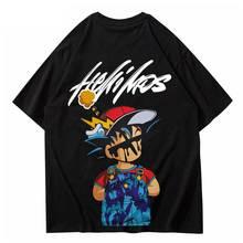 Oversize Men T Shirts Hip Hop Streetwear Cartoon Print Tshirt Summer Half Sleeve Harajuku Cotton Cas