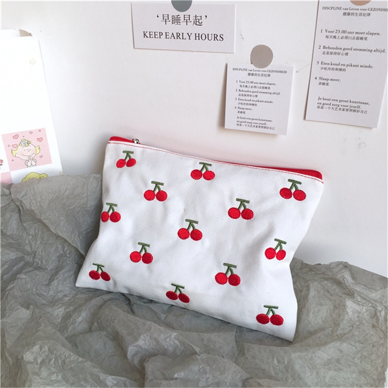 Ins lona cereja bordado lápis caso saco de cosméticos coreano kawaii saco de armazenamento conciso bonito estudante presente papelaria