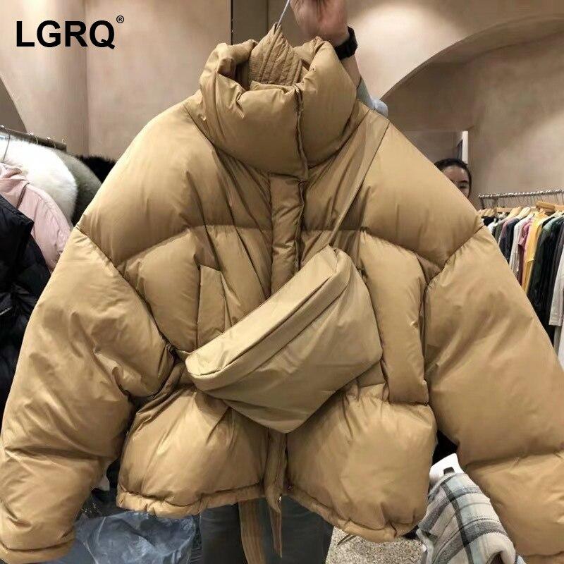 [LGRQ] حقيبة معطف مبطّن من القطن بأكمام طويلة فضفاضة للنساء سميكة دافئة مبطن البخاخ سترات موضة جديدة خريف شتاء 2021 19D4686