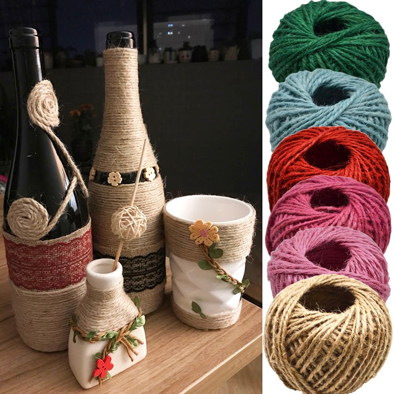30meters/lot 1roll Natural Burlap Hessian Jute Twine Cord Hemp hand-decorated rope rope Diy gift wrapping Party supplies