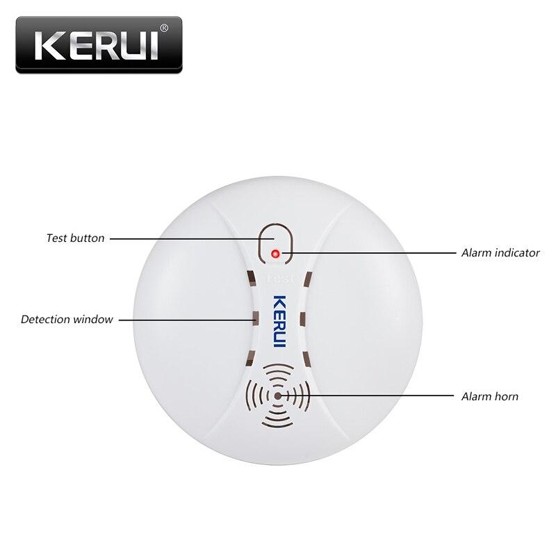 KERUI Rauch Feuer Detektoren 433MHz Drahtlose Detektoren Alarm für Wifi GSM PSTN Home Security Alarm System Rauch Alarm Sensoren kits