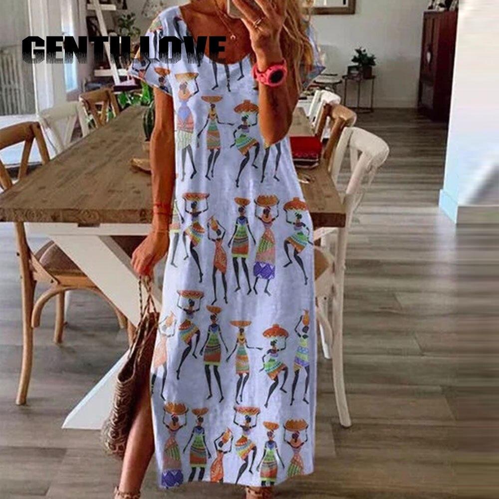 Vestido largo de talla grande para mujer, vestidos informales sueltos lisos de algodón con retazos y lazo en Estilo bohemio, vestidos Vintage de 2020