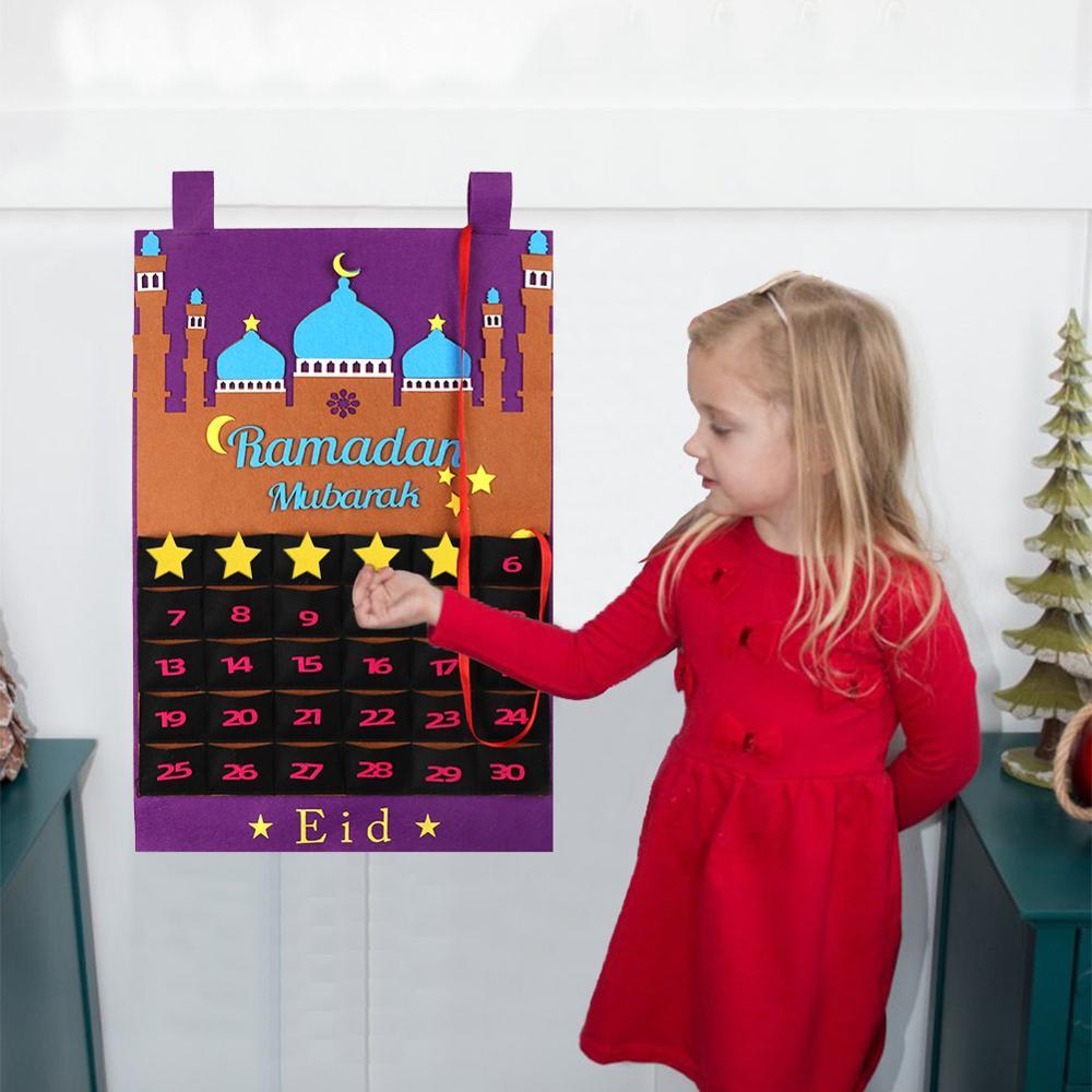 OurWarm EID Мубарак Рамадан Карим украшения войлочный календарь Висячие Подвески баннер конфетная коробка мусульманский ислам Eid вечерние принадлежности
