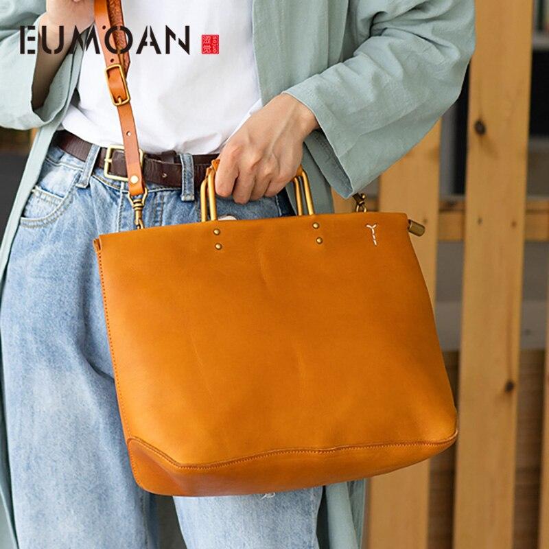 EUMOAN Leather one-shoulder slanted bag, vintage women's handbag, autumn large-capacity one-shoulder bag