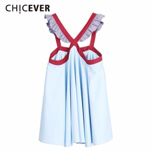 CHICEVER Cross Ruffles Patchwork Dress For Women Strapless Loose Asymmetrical Dresses Female Korean Fashion Clothes 2020