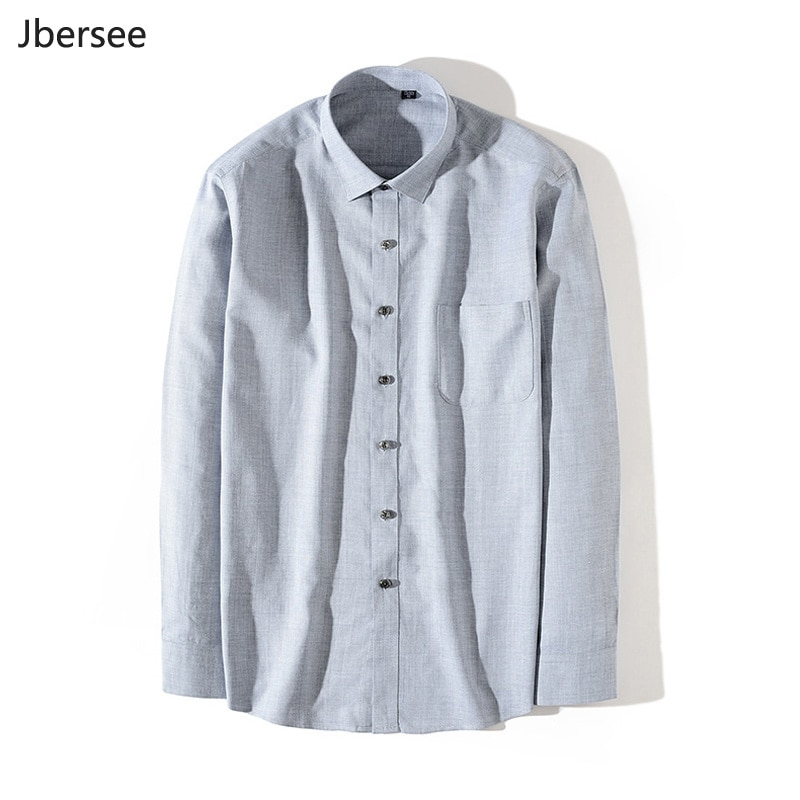 High Quality Autumn Men Cotton Linen Shirts Men Vintage Casual Shirt Long Sleeve Regular Fit Fall Shirt Men Blusa Masculina