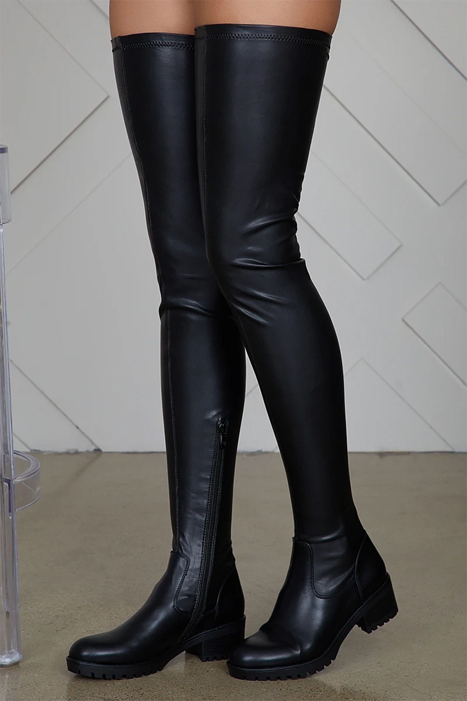 الفخذ أحذية عالية النساء الشتاء بولي Leather الجلود مريحة منخفضة الكعب الأحذية الإناث فوق الركبة أحذية برقبة طويلة مقاومة للماء السيدات حجم كبي...