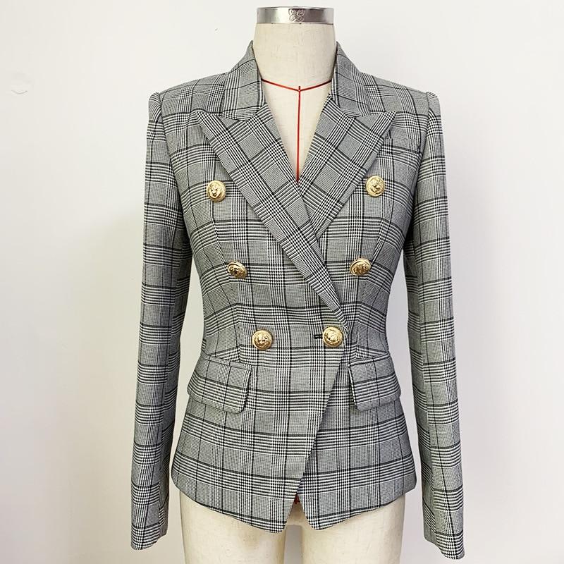 بدلة بليزر كلاسيكية ضيقة للنساء سترة بمشبك على شكل أسد مزدوجة الصدر مناسبة للسيدات ملابس خارجية سترة بنقشة إنكلترا