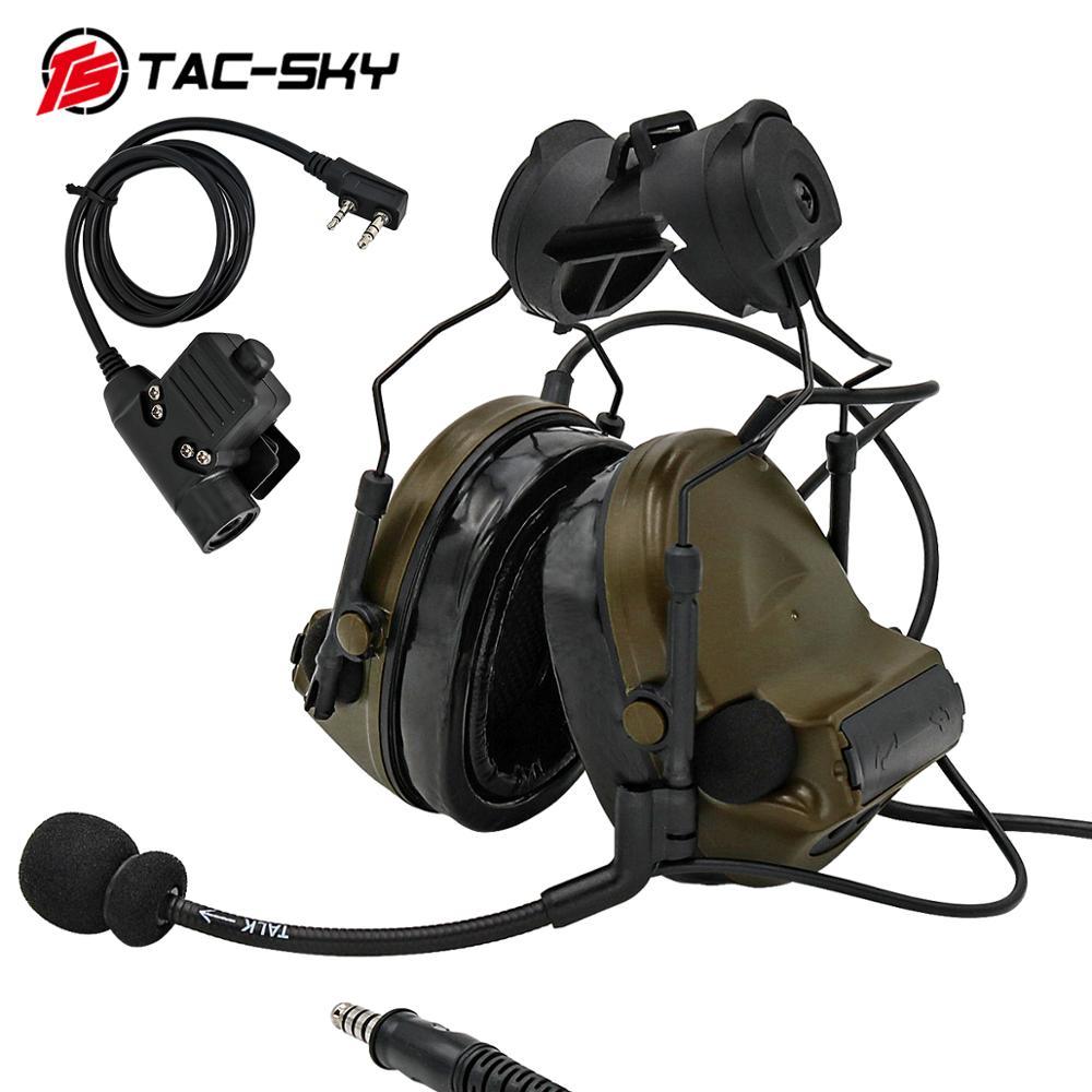 TAC -SKY COMTAC COMTAC II Helmet Bracket Edition Noise Reduction Military Shooting  Tactical Headset and PTT Tactical PTTu94ptt