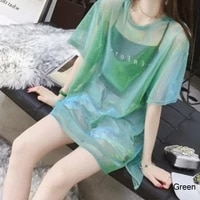 women transparent mesh t shirt o neck perspective short sleeve tee tops cover upcamisole vest two piece top