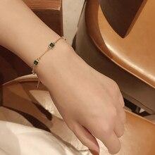 Retro Simple and Light Luxury Emerald Bracelet Female Ins Special-Interest Design Slim Chain Bracele