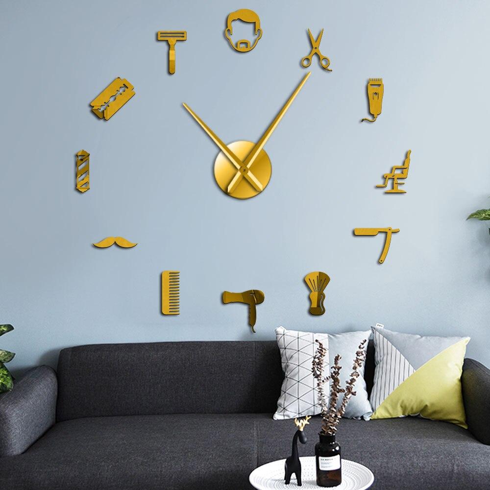 GZ294-Reloj de Pared con espejo de espuma EVA, de 47 pulgadas, silencioso, 3D, de cuarzo, para salón de belleza