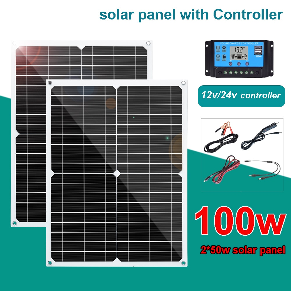kit completo de panel solar flexible 100w 50w USB 18V fuente de alimentación 12V cargador de batería Fotovoltaico 5v usb para teléfono powerbank coche