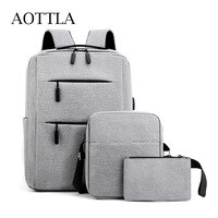 Набор из 3 нейлоновых рюкзаков AOTTLA для мужчин, повседневные многофункциональные школьные ранцы для ноутбука 2021