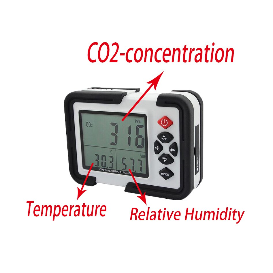 HT-2000 سطح المكتب ثاني أكسيد الكربون مسجل بيانات كاشف الغاز محلل رصد LCD/PC ثاني أكسيد الهواء درجة الحرارة الرطوبة مسجل متر