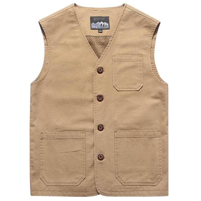Мужская повседневная жилетка с карманами, жилет без рукавов с v-образным вырезом, большие размеры, повседневная одежда для мужчин