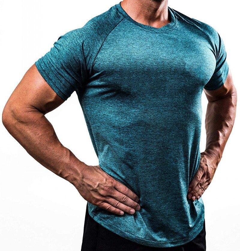 Эластичные футболки для бега, мужские спортивные футболки, облегающие спортивные футболки, футболки для фитнеса, Мужская компрессионная ру...