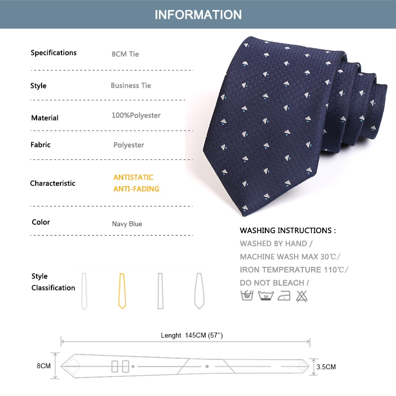 2020 New Arrivals High Quality Classical Blue 8CM Wide Ties For Men Business Suit Work Necktie Male Fashion Formal Neck Tie