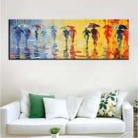 umbrella rain pedestrian oil painting canvas painting posters and prints wall pictures for living room wall art picture decor
