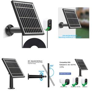 3 pcs 3.5Watt Solar Panel for Eufycam E/Eufycam 2C/E/2 pro/SoloCam E20 E40 Continuous Power Maintain Battery Lif