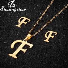Shuangshuo moda A-Z alfabeto stud earings mini carta brincos jóias para meninas dos homens crianças presentes de aniversário