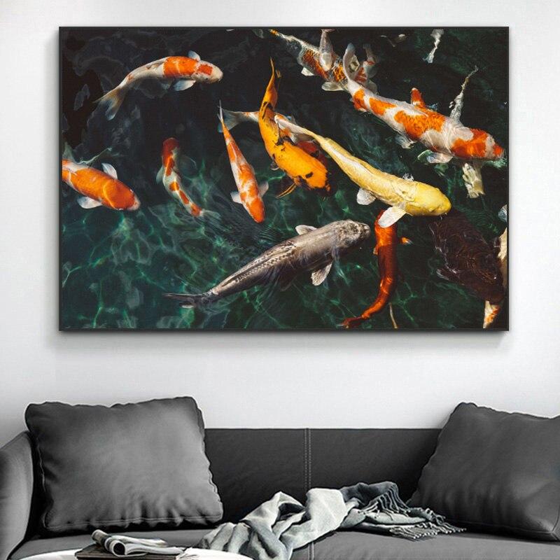 Poster moderno pintura da lona animais posters e cópias peixes arte da parede fotos para sala de estar casa decorativo fotos sem moldura