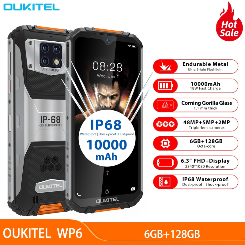"OUKITEL WP6 6,3 ""Octa Core teléfono móvil MT6771T impermeable polvo choque 9V/2A 10000mAh batería 48MP Triple Cámara 6GB 128GB"