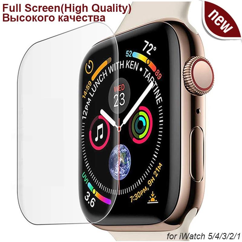 Protecteur d'écran 3D Ultra-fin en PET, souple et trempé, pour Apple Watch série 5 4, iWatch 38 40 42 44mm, pas du verre