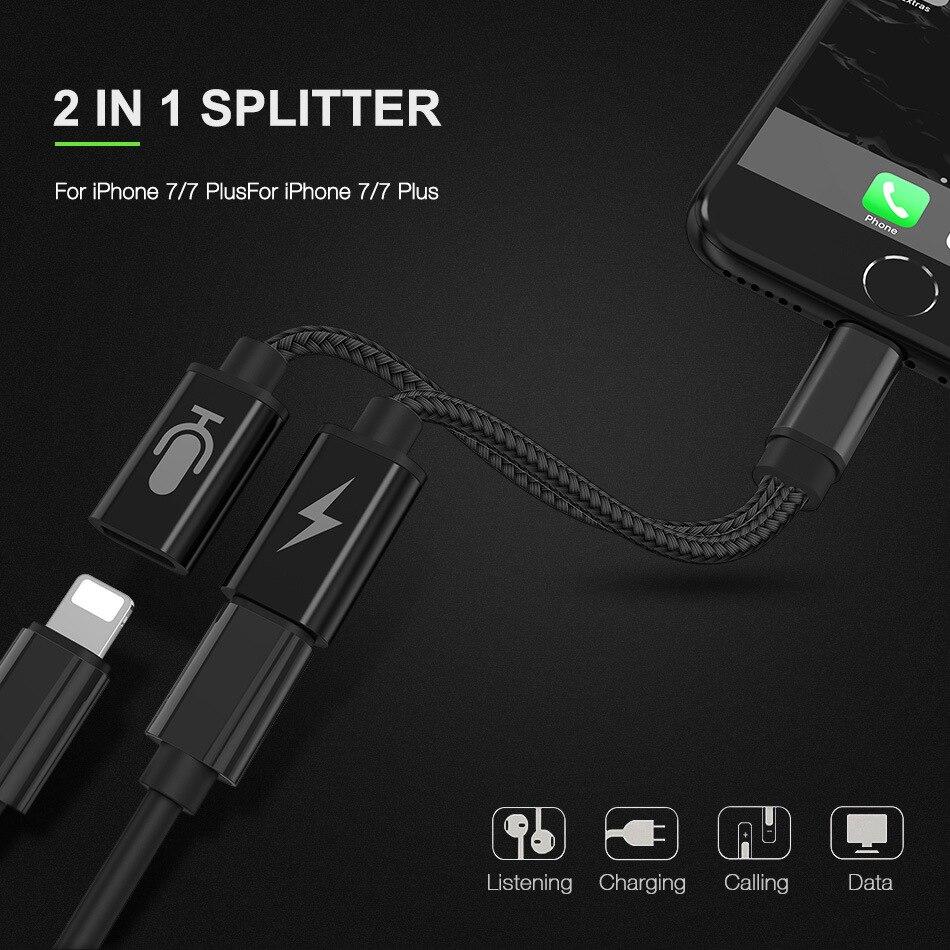 Adaptador de Audio auxiliar para auriculares de doble iluminación, 2 en 1,...
