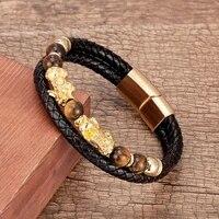 100 natural tiger eye stone beads bracelet for men stainless steel magnetic clasp golden pixiu wealth lucky men women bracelets