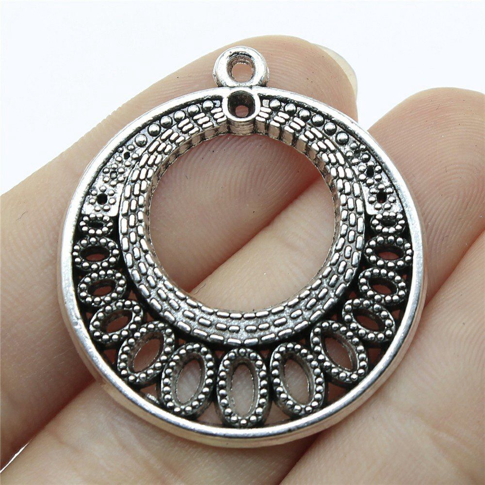 Jewellery Charms Components 1pcs Round Earrings Connector Charms 36x33mm