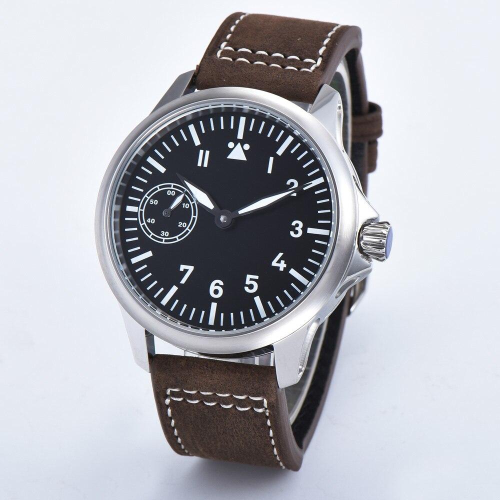 Corgeut45-ساعات يد ميكانيكية للرجال ، مينا معقمة سوداء ، علامات مضيئة ، seagull 6497 ، لف يدوي ، مقاوم للماء ، relogio SS