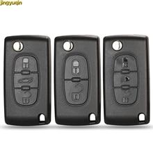 jingyuqin Car Key Shell HU83 CE0536 / 523 pour Peugeot 207 307 407 107 308 408 Partner Citroen C3 C4 C5 C6 Berlingo Xsara Picasso