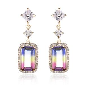 Noble temperament square zircon earrings micro-inlaid zircon geometric square earrings environmental protection copper ear jewel
