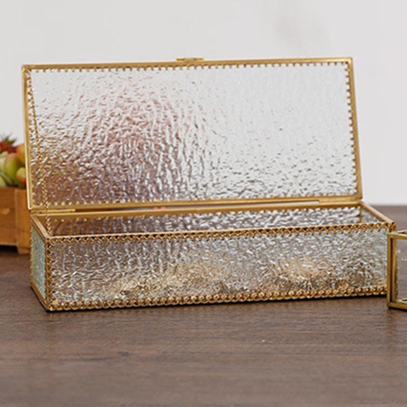 الذهبي مربع المجوهرات الزجاج ماكياج منظم أدوات التجميل ساعة قائم عرض لأحمر الشفاه مجوهرات أقراط صندوق تخزين الملحقات