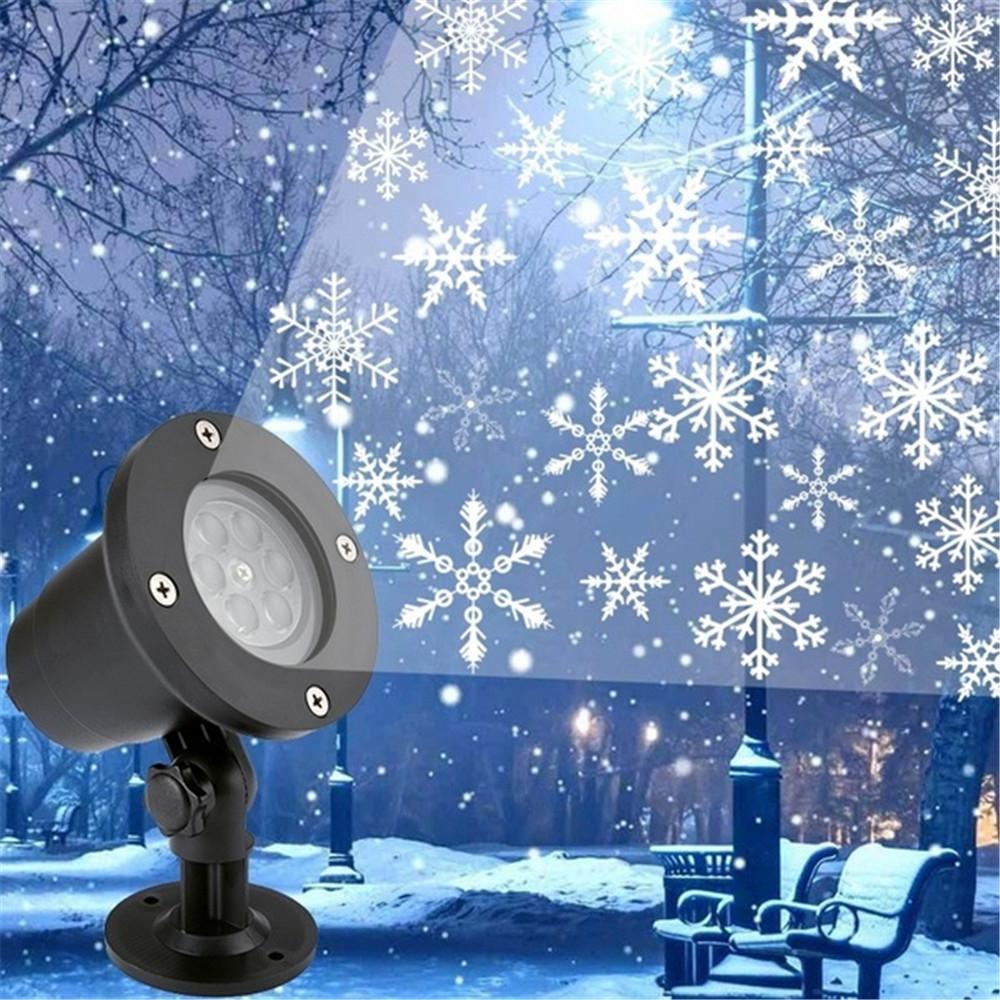 Лазерный проектор в виде снежинок, светодиодный, водонепроницаемый