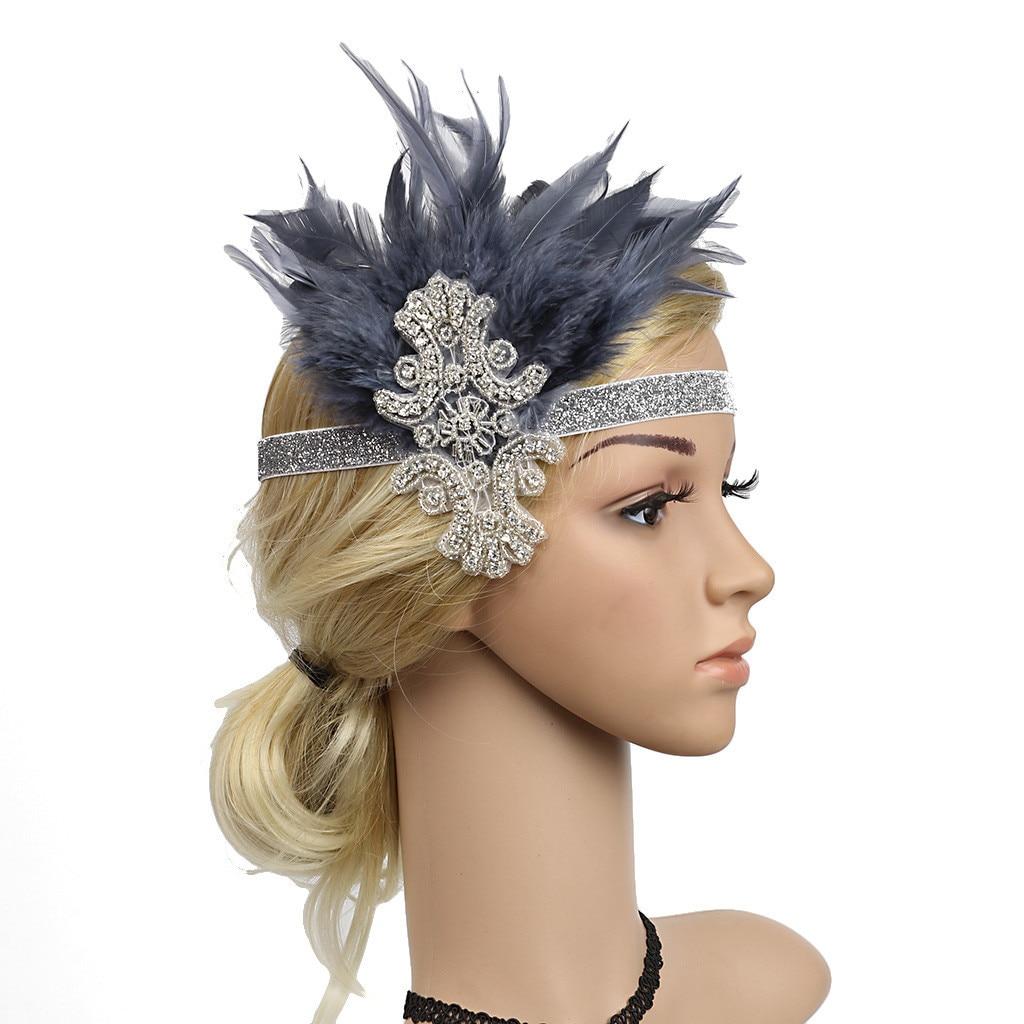 Tocado de plumas diadema flapper gran Gatsby tocado Vintage Prom accesorios de cabello para mujer 2019 nuevo tocado de flapper