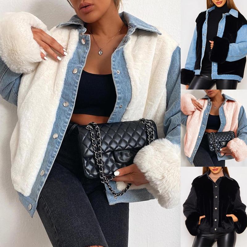 Женская куртка, модная теплая флисовая джинсовая куртка в стиле пэчворк, Женская куртка, Повседневная Свободная куртка с длинным рукавом дл...