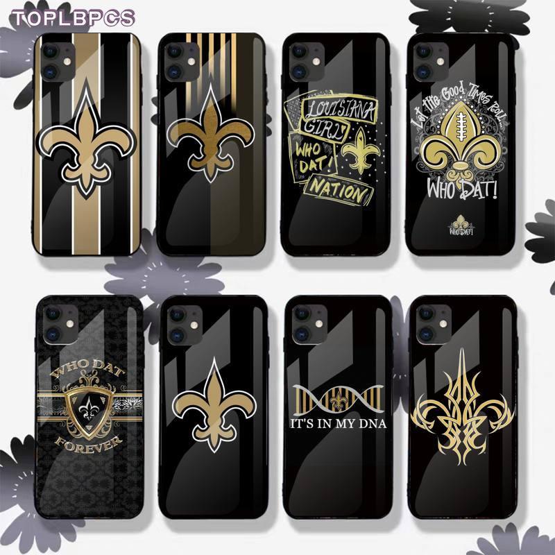 TOPLBPCS CUTEWANAN los Saints de Nueva Orleans de Rugby de cristal templado de teléfono caso iPhone 7 6 6S Plus X XR 11 pro XS MAX fundas