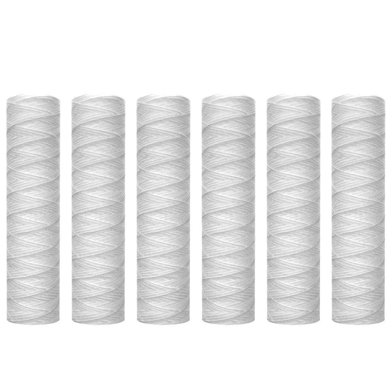 EAS-10 Micrometre String Wound Sediment Water Filter Cartridge,6 Pack,Whole House Sediment Filtration,Universal